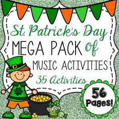 This is a zip file containing 56 Pages of 35 St. Patricks Day-themed activities. All of the activities are focused around basic music theory, such as note identification (treble and bass), note and rest durations, and symbol identification. Most of these activities require NO PREP!