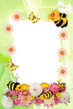 """""""Cute Bees"""": """"Time for Honey"""" letter pad Boarder Designs, Page Borders Design, Photo Frame Design, Diy And Crafts, Paper Crafts, School Frame, Baby Frame, Birthday Frames, Paper Birds"""