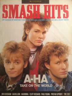 A-HA on the cover of Smash Hits in Dec 1985 Prefab Sprout, Aha Band, Billy Ocean, Frankie Goes To Hollywood, Thompson Twins, Pete Burns, Nostalgia, Paul Young, Tears For Fears