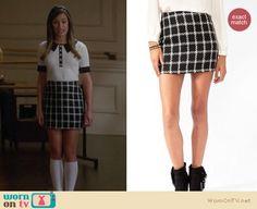 Rachel Berrys black and white check skirt and sweater on Glee http://wornontv.net/11084