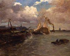 Schepen op de rivier voor Dordrecht, A.P.Schotel