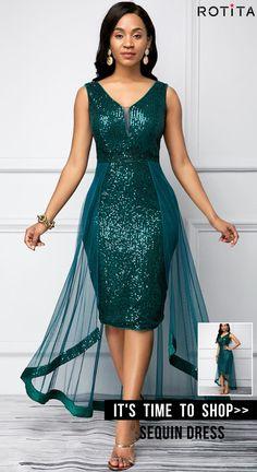 Party Dresses For Women Sequin Detail Peacock Blue Sleeveless Dress Short African Dresses, Latest African Fashion Dresses, Women's Fashion Dresses, Dress Outfits, Chic Outfits, Elegant Dresses, Sexy Dresses, Elegant Clothing, Party Dresses For Women