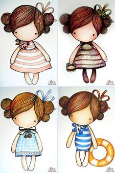 ru / Winter series - Scheme for sketches Magic__ Dolls - kat-gafenko Illustration Mignonne, Cute Illustration, Little Doll, Little Girls, Cute Images, Cute Pictures, Art Mignon, Country Paintings, Digi Stamps