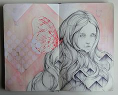 Care sketch. by Marjolein Caljouw, via Behance (Colour) pencil, ink, graphite and acrylics on Moleskine paper.