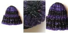 Hand knitted women beanie. Material: 74 % soft wool and 26 % polyamid. Soft and warm winter beanie in deep purple and black colours with tiny sparks of white woolen thread. Head size (perimeter) of beanie with folded strap : approximately 65 cm.