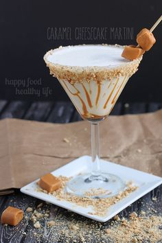 Caramel Cheesecake Martini - Drinking dessert is sometimes way better than eating it, especially when it tastes a good as this one does! www.happyfoodheathylife.com