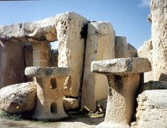 Mushroom shaped altars at hagar Qim Prehistoric temples (Malta) 3,000 B.C.