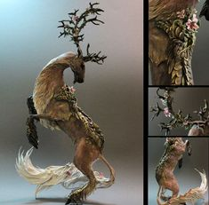 """Canadian artist Ellen Jewett created these incredible fantasy creatures sculpted entirely by hand. """"Each sculpture is handmade and paint. Fantasy Kunst, Fantasy Art, Fantasy Creatures, Mythical Creatures, Stuffed Animals, Canadian Artists, Animal Sculptures, Animal Statues, Creature Design"""
