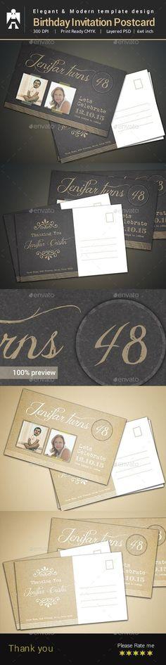 Birthday Invitation - Spirited Color Print templates, Typography - birthday invitation card template photoshop