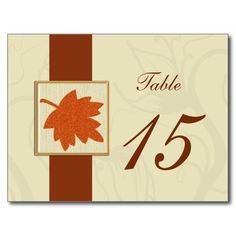 orange fall wedding table numbers postcards