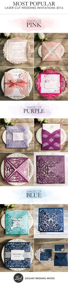 most popular elegant wedding invitations at @elegantwinvites with different colors-shades of pink wedding invitations, shades of purple wedding invitation cards and shades of blue wedding invitations