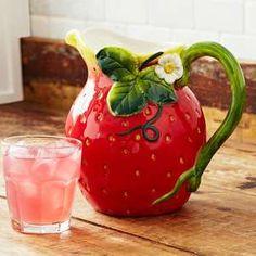 Strawberry jug Strawberry Drinks, Strawberry Kitchen, Strawberry Delight, Strawberry Hill, Strawberry Patch, Strawberry Fields, Strawberry Shortcake, Strawberry Decorations, Ceramic Pitcher