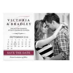 Photo Save The Date With Calendar Announcements