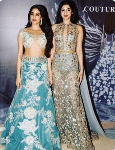 Khushi Kapoor in blue Manish Malhotra lehenga. Jhanvi Kapoor in a blue grey evening gown. Indian Skirt, Dress Indian Style, Indian Dresses, Bollywood Dress, Bollywood Fashion, Bollywood Stars, Indian Wedding Outfits, Indian Outfits, Indian Designer Outfits