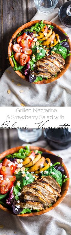 Strawberry Salad with Grilled Nectarines and Balsamic Vinaigrette - A healthy, summer salad that is loaded with sweet strawberries, grilled chicken and nectarines and topped with tangy balsamic vinaigrette. Easy and gluten free! | Foodfaithfitness.com | @FoodFaithFit