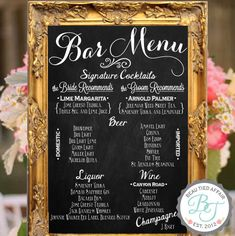 """Wedding Bar Menu Chalkboard Sign • Personalized Wedding Menu • (24"""" x 36"""") ❤️I'm sure one of your savvy computer friends could come up with something similar on his/her computer then take it to be copied in whatever size U like and place it in a frame. See that's easy...but don't ask me, I can turn it on and access Pinterest, that's it!!"""