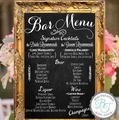 Etsy の 結婚式バー メニュー黒板看板 パーソナライズされた結婚式メニュー by BeauTiedAffair
