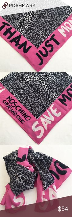 """Moschino Cheap and Chic 100% silk scarf I love this brand. I love this scarf! I bought it to wear with one particular outfit, and the pinks don't work together. Since my scarf drawer is overflowing, I've decided to sell it. 😢 It's 100% silk; black, grey, white, and hot pink; and 35"""" square. I can't find any flaws, other than the fact that the tag is missing. Gently loved but in excellent condition. It's gorgeous! Moschino Accessories Scarves & Wraps"""