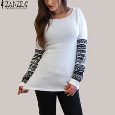 Women T Shirt Fashion O Neck Printed Long Sleeve Loose T-Shirt Casual Tops Pullover Size S-5XL