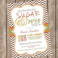 Fall sugar and spice baby shower invitation, orange, brown, green, autumn baby shower invitation, typography, printable, digital file