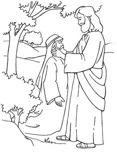 Jesus Heals a Deaf-Mute Coloring Page