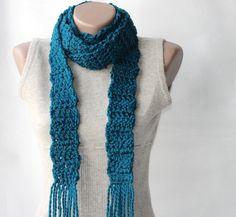 Teal crochet scarf Wool blend long scarf Deep.  #scarf #fashion