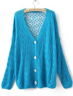 Blue Single Breasted Hollow Lace Sweater