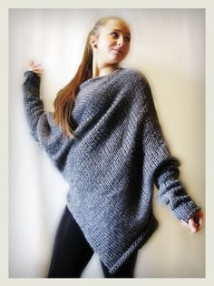 This beautiful grey merino wool sweater / poncho is made of best quality materials. With tube scarf Chunky handmade, knitted to fit all sizes. Made on