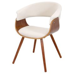The modern curved brown seat of this chair will surely add modern flair to any space with its slim walnut legs and unique shape designed for maximum comfort, this chair is truly a striking furniture!