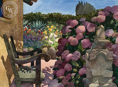 Harry's Bench, 1984, art by Carolyn Lord – California Watercolor