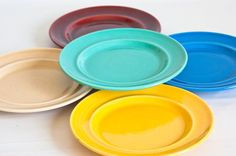Vintage Multi Color Metlox Color Stax Salad Plates- From TheWildWorld