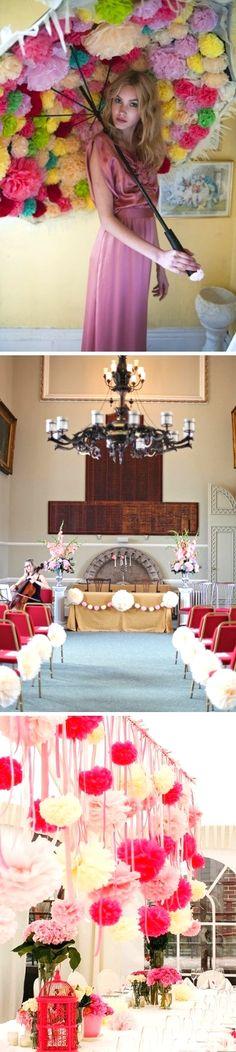 Pom-pom decorativi ~ Ornamental pom-poms - di Bolleblu via it.dawanda.com  #matrimonio