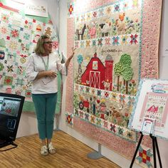 The details in Farm Sweet Farm Quilt is stunning! Farm Animal Quilt, Farm Quilt, Sampler Quilts, Scrappy Quilts, Quilting Projects, Quilting Designs, Chicken Quilt, Christmas Farm, Farmers Wife Quilt