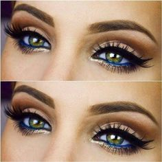20 Eye Makeup Looks you will love Beautiful eye makeup! gold highlight blue eyeliner bold black eyeliner & brows – Das schönste Make-up Beautiful Eye Makeup, Pretty Makeup, Love Makeup, Makeup Inspo, Makeup Inspiration, Makeup Ideas, Makeup With Blue Dress, Navy Blue Dress Makeup, Makeup Kit