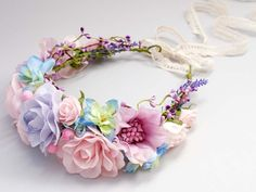 Flower head wreath / Floral crown / Headpiece van Lola White op DaWanda.com