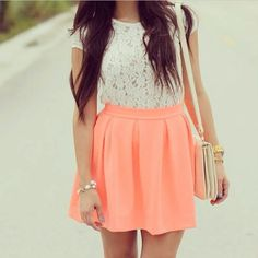 neon skirt, lace top, such a cute outfit! Neon Skirt, Coral Skirt, Cute Fashion, Womens Fashion, Fashion Ideas, Skirt Outfits, Cute Outfits, Senior Picture Outfits, Miami Fashion