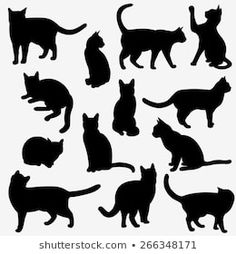 Find vector cartoon cat silhouette stock images in HD and millions of other royalty-free stock photos, illustrations and vectors in the Shutterstock collection. Black Cat Silhouette, Silhouette Images, Animal Silhouette, Logo Gato, Cat Outline, Cat Template, Flora Und Fauna, Cat Pose, Cat Quilt
