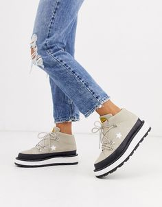 Shop the latest Converse Beige One Star Hiker Boots trends with ASOS! Free delivery and returns (Ts&Cs apply), order today! Converse Style, Converse One Star, New Converse, Chuck Taylor Sneakers, Air Max Sneakers, Sneakers Nike, Shoe Wall, Beige Boots, Platform Sneakers