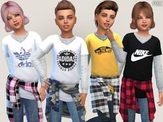 The Sims Resource: Everyday and Sporty Outfits For Children by Pinkzombiecupcake. - - The Sims Resource: Everyday and Sporty Outfits For Children by Pinkzombiecupcakes Sims 4 Cc Kids Clothing, Kids Clothes Boys, Children Clothing, My Sims, Sims Cc, Sporty Outfits, Boy Outfits, Sims 4 Outfits, Sporty Fashion