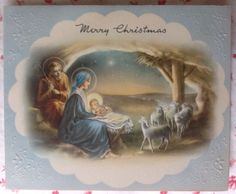 Vintage 1940's Embossed Christmas Greeting Card with Lovely Nativity Scene