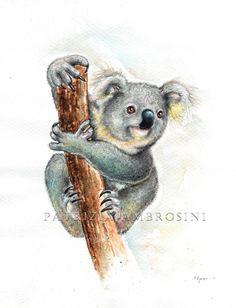 PRINT .. KOALA.... PRINT art.. nursery art  by happyapplebumblebee, $6.00