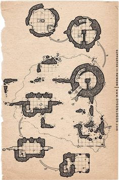 Round Tower, Dungeon Maps, The Two Towers, The Dunes, Cartography, Dungeons And Dragons, Vintage World Maps
