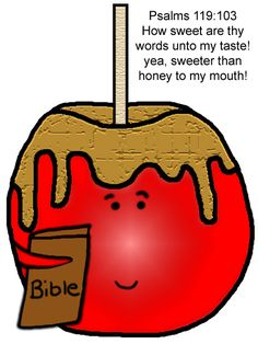 Candy Apple Sunday School Lesson (Psalms 119:103)- Comes with matching coloring page, writing paper, clipart, snack and more.