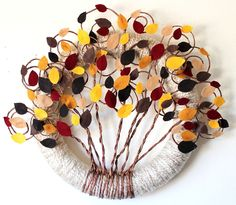 """Hand Crafted Fall Leaves Yarn Wreath, 14""""+ Wreath in Shades of Brown, Gold, Rust"""