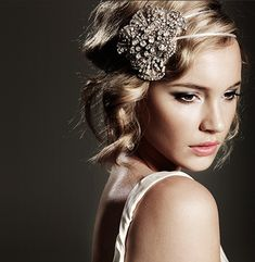 vintage and modern headpiece, makeup, and hair