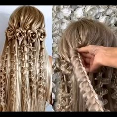 Easy Hairstyles For Long Hair, Braids For Long Hair, Cute Hairstyles, Hairstyles Videos, Elvish Hairstyles, Mermaid Hairstyles, Fancy Braids, Cool Braids, Creative Hairstyles
