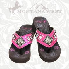 Montana West Diamond shaped Concho Collection Flip Flops Pink