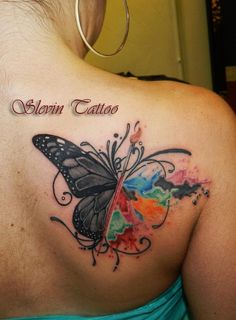 Black And Watercolor Butterfly Tattoo On Back Shoulder