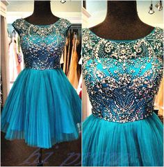 Blue Homecoming Dress,Beading Homecoming Dress,Tulle Homecoming Dress,Cute Short Prom Dress,Cap Sleeves Party Dress,Sweet 16 Dresses