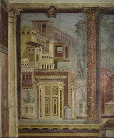 """C'est en Grèce que des philosophes et des mathématiciens établirent (de 500 à 100 av. J.-C.) que notre """"image visuelle"""" était constituée de lignes droites partant de l'œil et formant un cône"""", posant ainsi les bases de la réflexion sur la perspective. Son application dans l'art reste très intuitive, mais on sait que les lignes doivent converger pour exp //Fresque villa de P. Fannius Synistor à Boscoreale, près de Pompeii, Rome, fin de la République, vers. 50-40 avant J.C., 265.4 x 334 x…"""